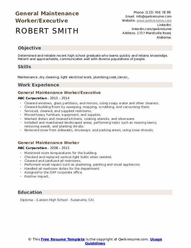 General Maintenance Worker/Executive Resume Sample
