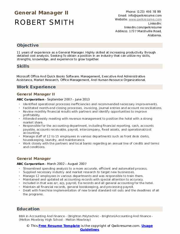 General Manager II Resume Example
