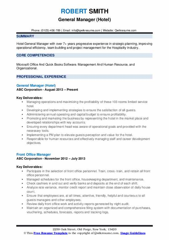 Hotel General Manager Resume Examples Best Resume Examples