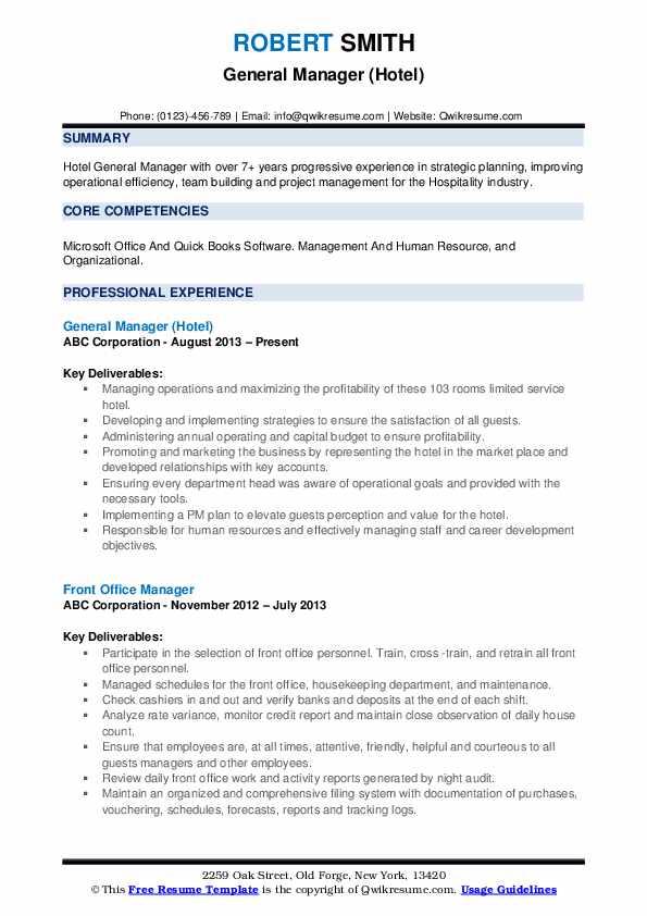 General Manager (Hotel) Resume Sample
