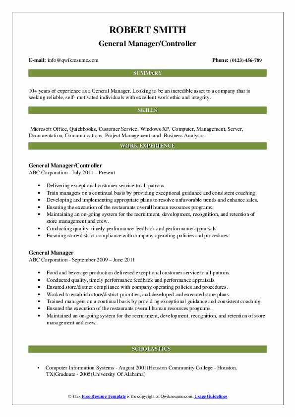 General Manager/Controller Resume Template