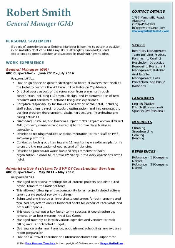 General Manager (GM) Resume Template