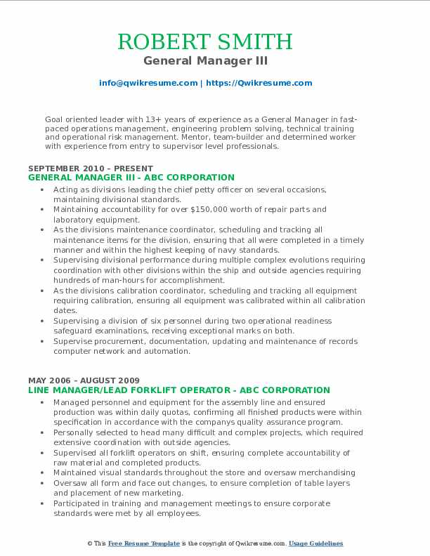 General Manager III Resume Template