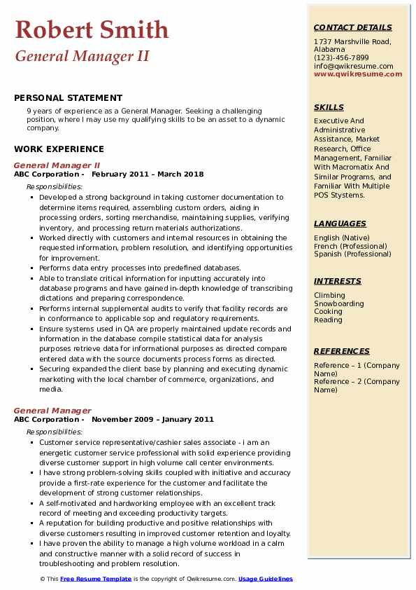 General Manager II Resume Format