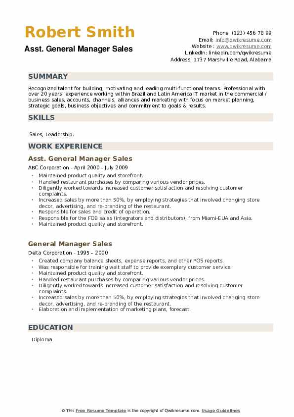 General Manager Sales Resume example