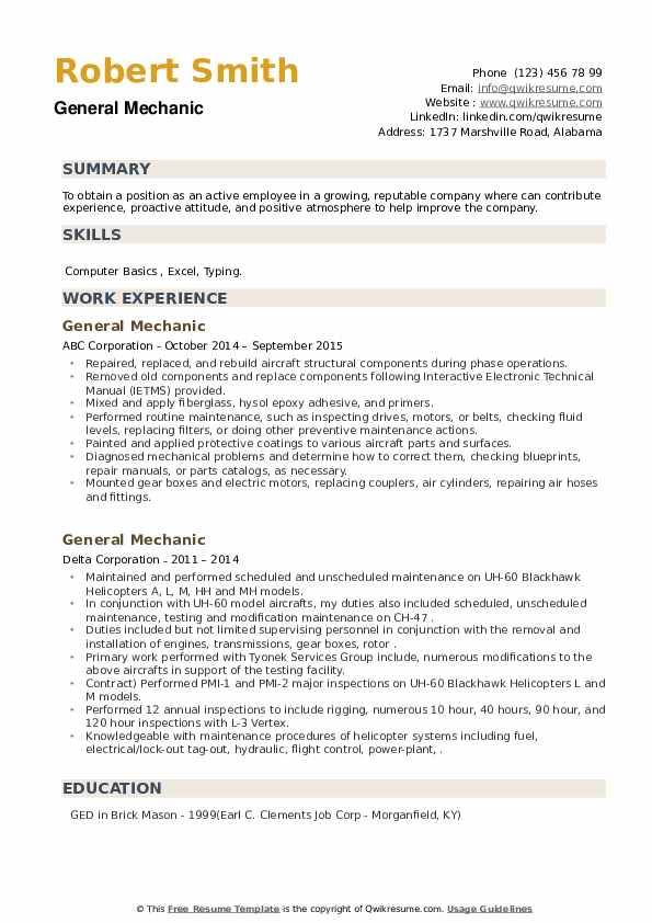 General Mechanic Resume example