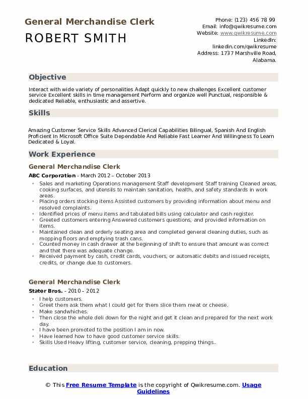 General Merchandise Clerk Resume Format