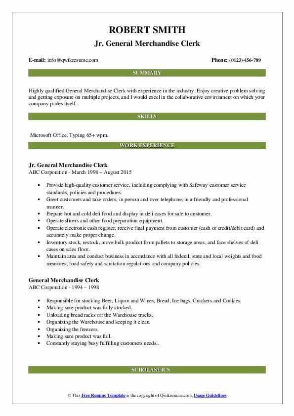 Jr. General Merchandise Clerk Resume Example