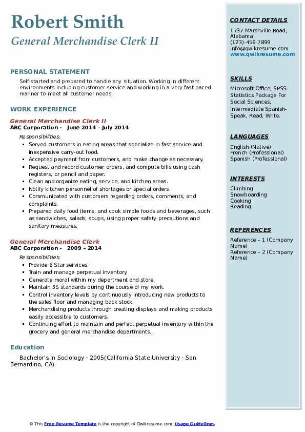 General Merchandise Clerk II Resume Model