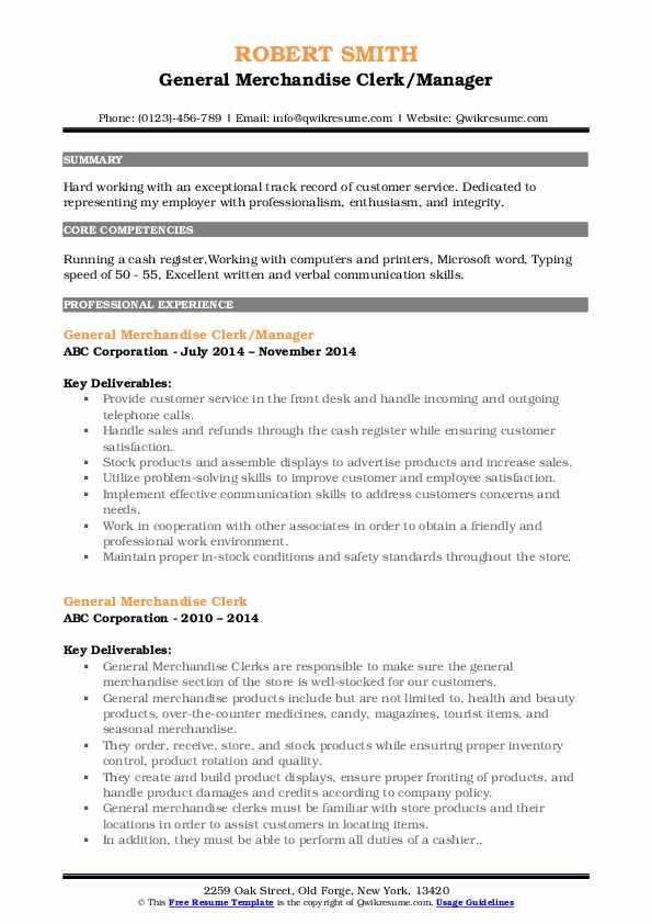 General Merchandise Clerk/Manager Resume Model