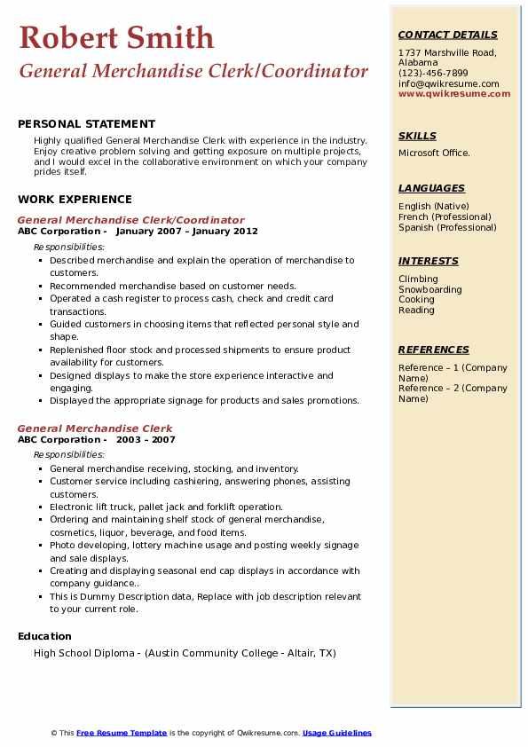 General Merchandise Clerk/Coordinator Resume Format