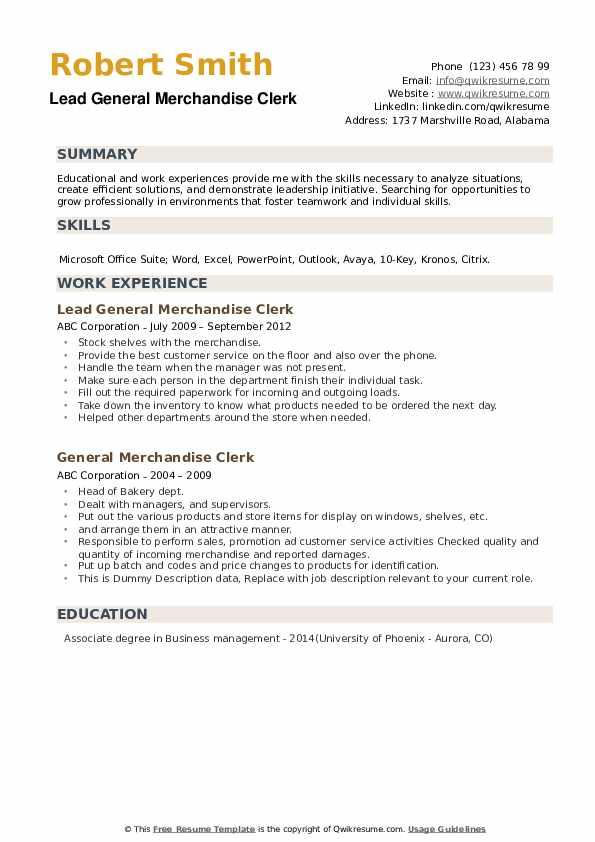 Lead General Merchandise Clerk Resume Template