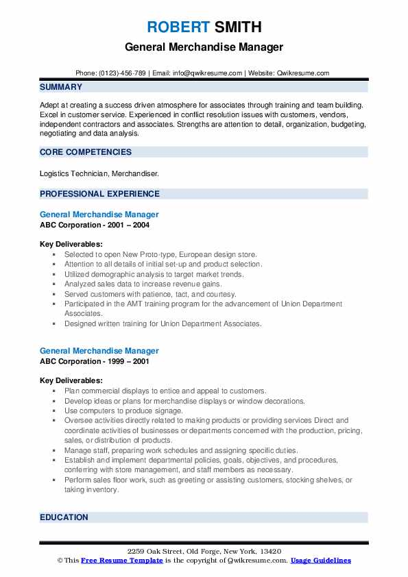 General Merchandise Manager Resume example