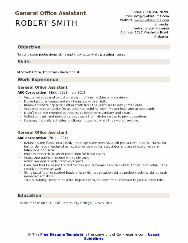 General Office Assistant Resume example