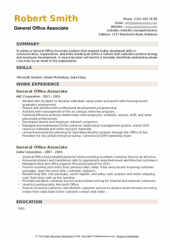 General Office Associate Resume example