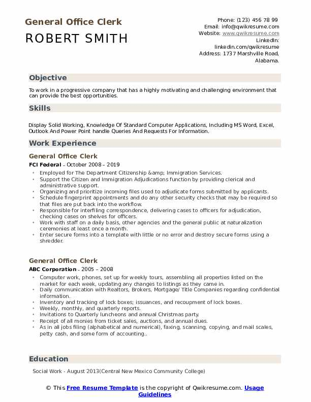 General Office Clerk Resume Samples | QwikResume