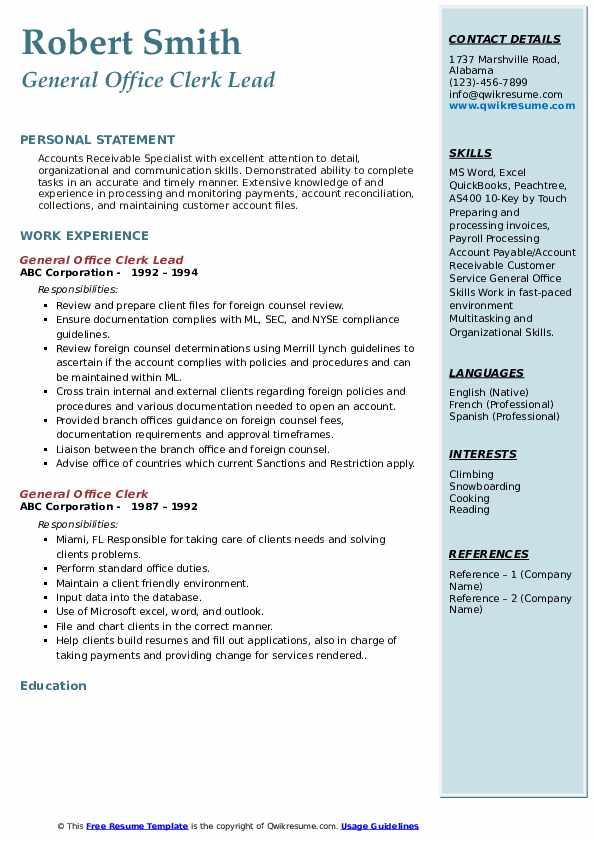 General Office Clerk Lead Resume Template