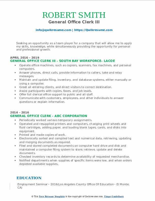 General Office Clerk III Resume Format