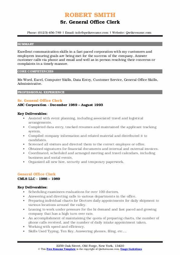 Sr. General Office Clerk Resume Example