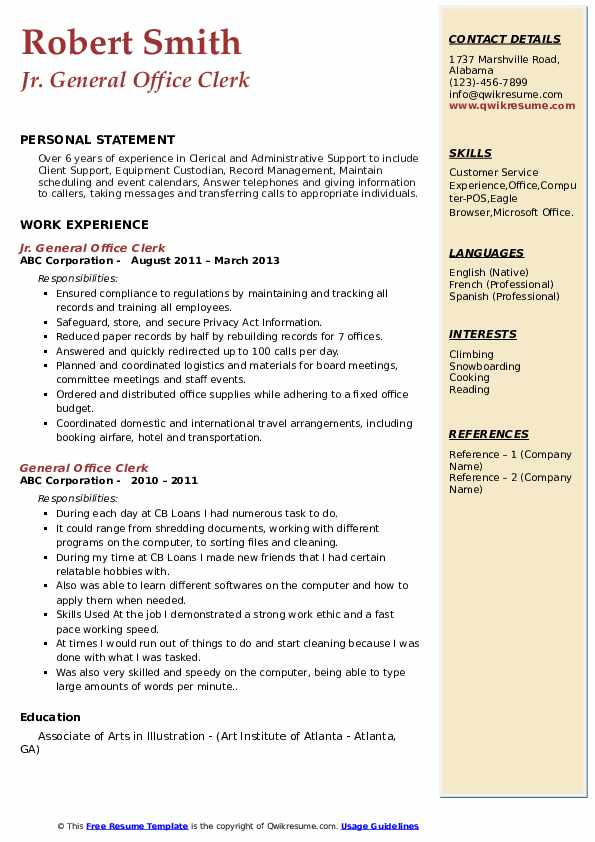 General Office Clerk Resume Samples Qwikresume