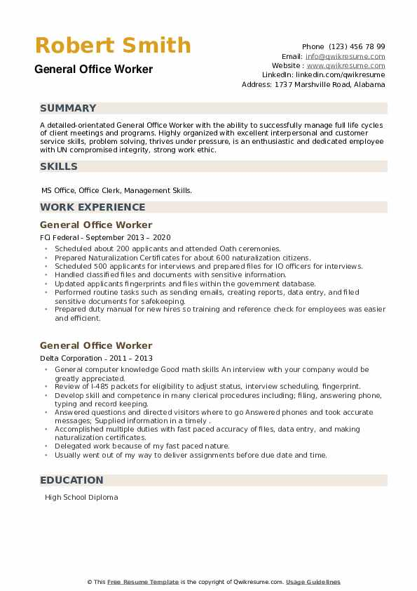General Office Worker Resume example