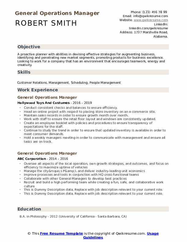 General Operations Manager Resume example
