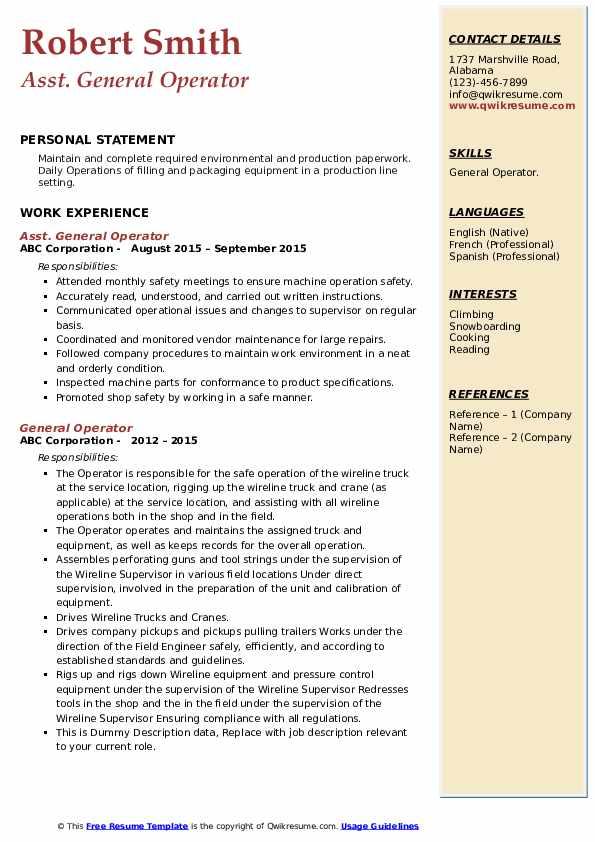 General Operator Resume example
