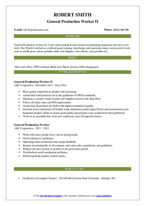 General Production Worker Resume Samples Qwikresume