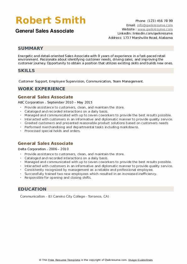 General Sales Associate Resume example