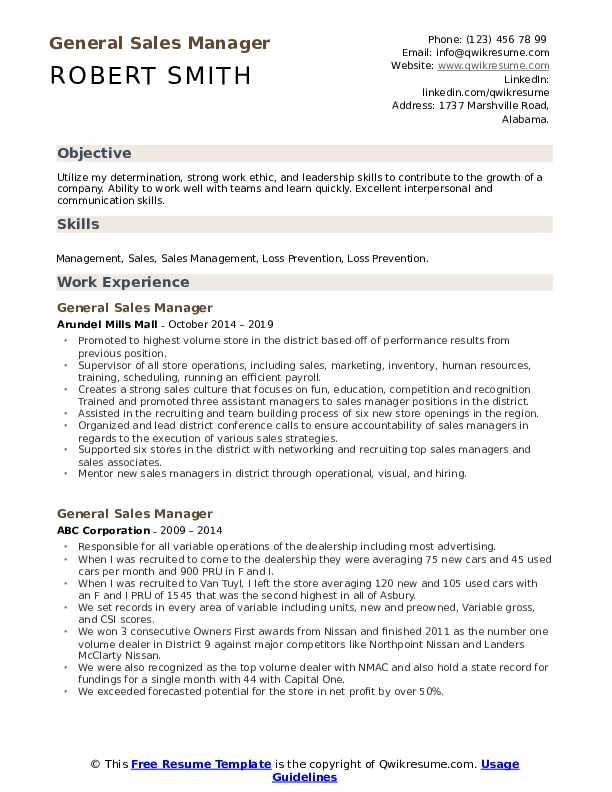 General Sales Manager Resume Samples Qwikresume
