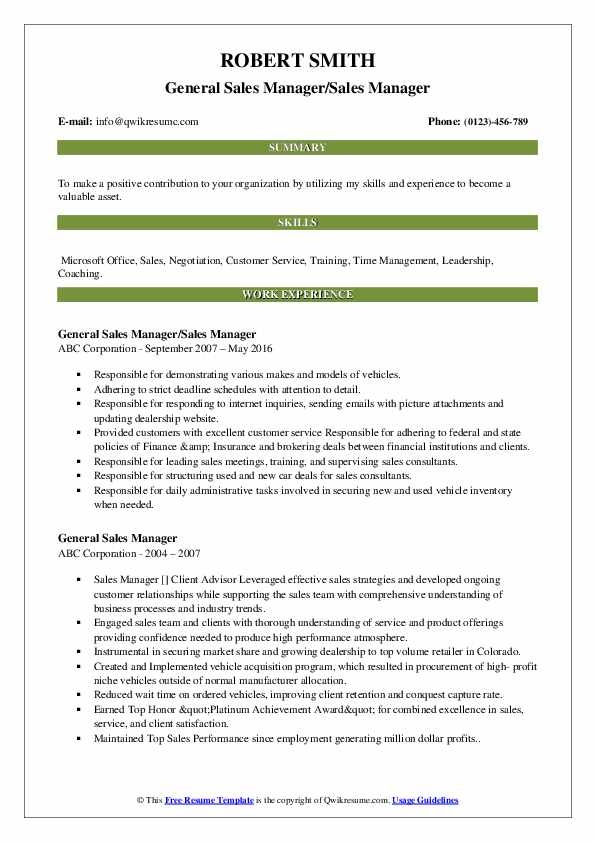 General Sales Manager/Sales Manager Resume Example