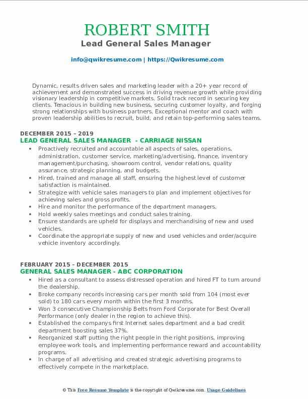 Lead General Sales Manager  Resume Model