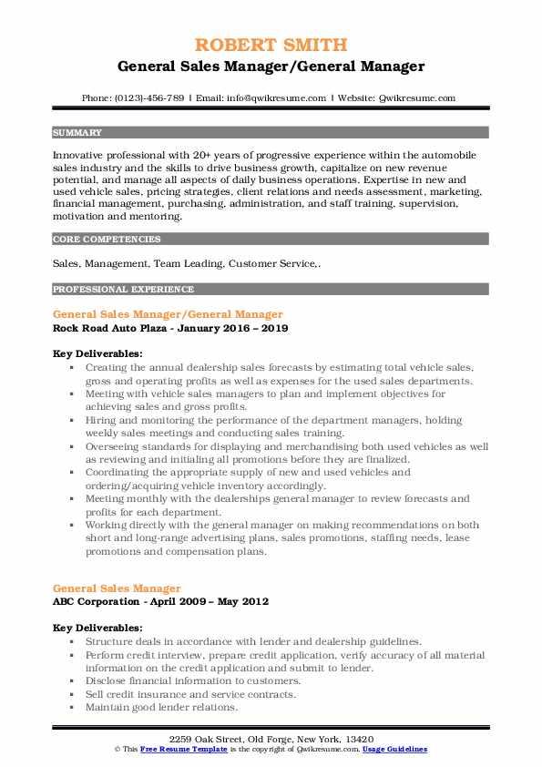 General Sales Manager/General Manager Resume Model
