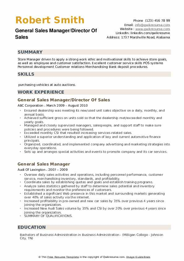 General Sales Manager Resume Samples Qwikresume