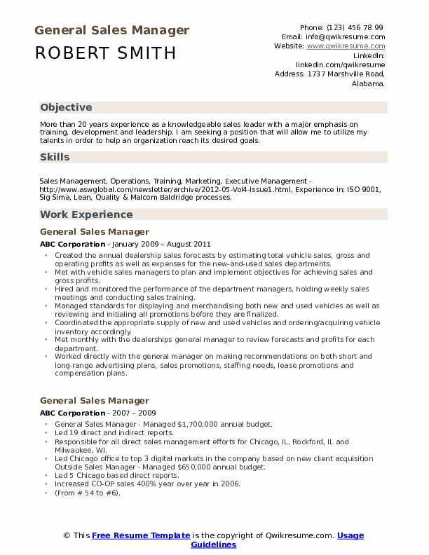 General Sales Manager Resume example