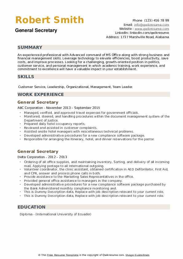 General Secretary Resume example