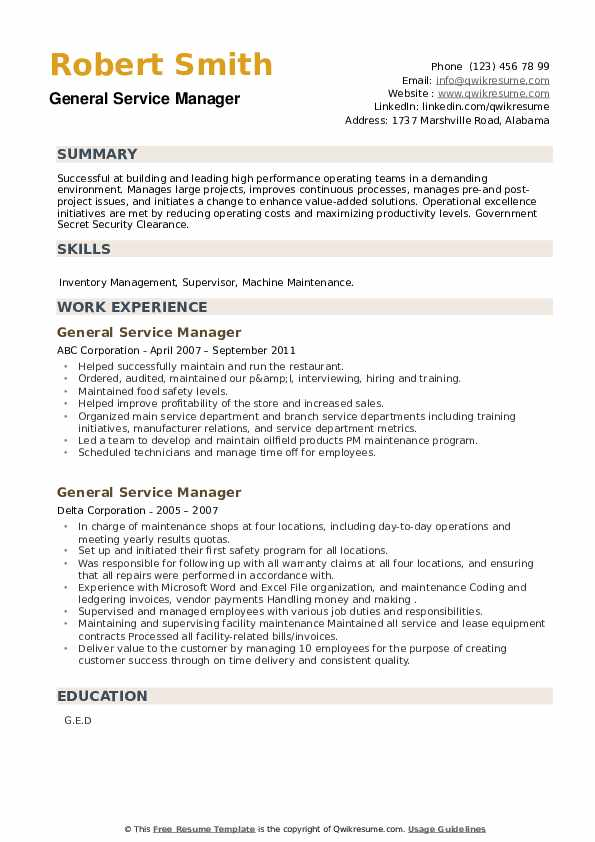 General Service Manager Resume example