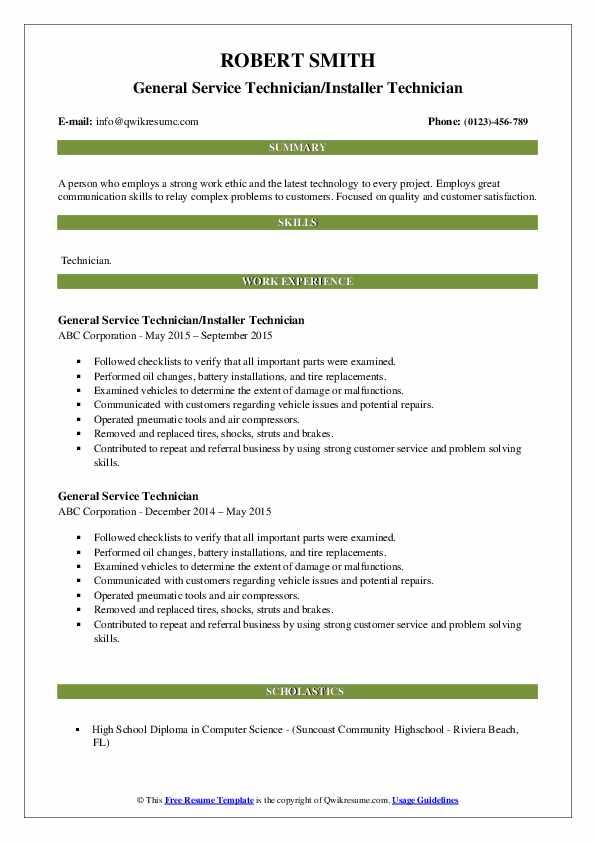 General Service Technician/Installer Technician Resume Model