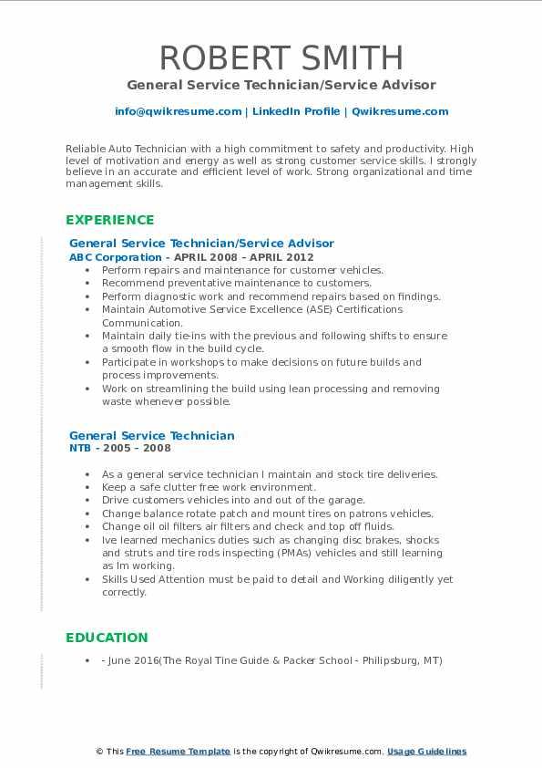 General Service Technician/Service Advisor Resume Example