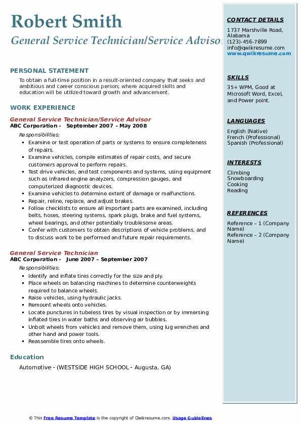 General Service Technician/Service Advisor Resume Sample
