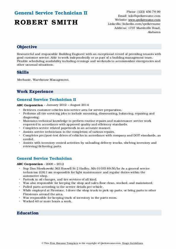 General Service Technician II Resume Template