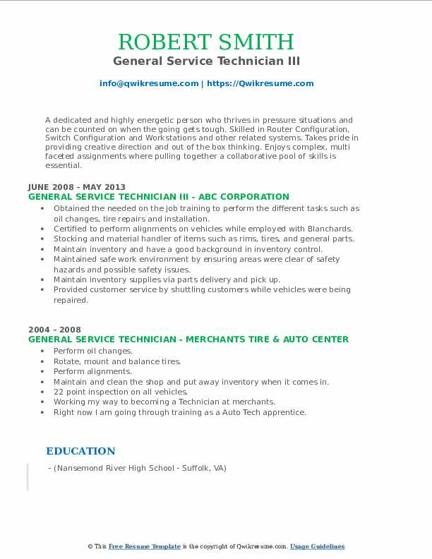 General Service Technician III Resume Format