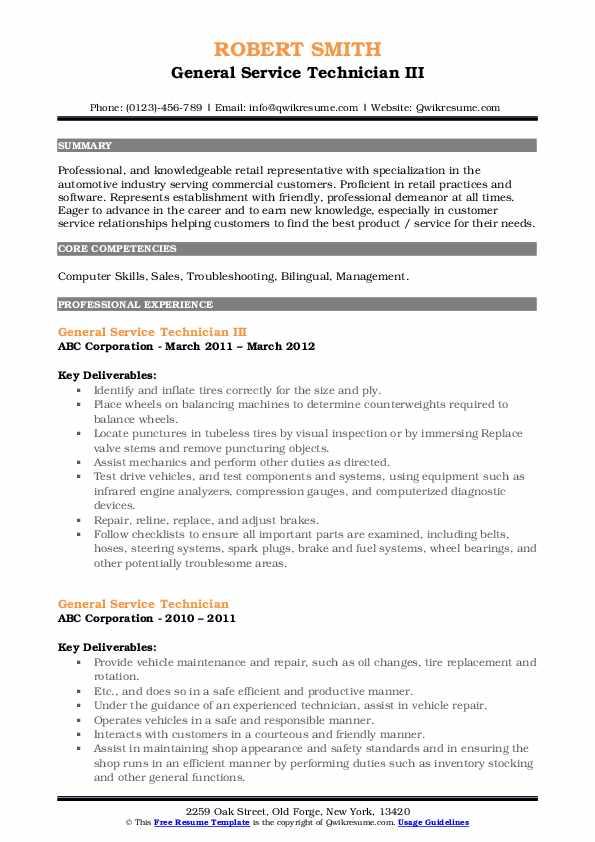 General Service Technician III Resume Model