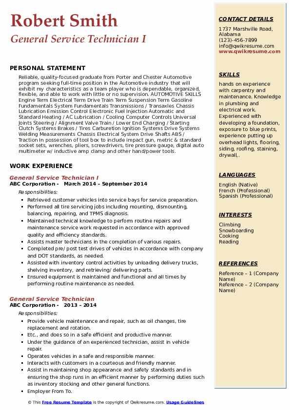 General Service Technician I Resume Template