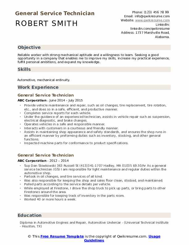 General Service Technician Resume example