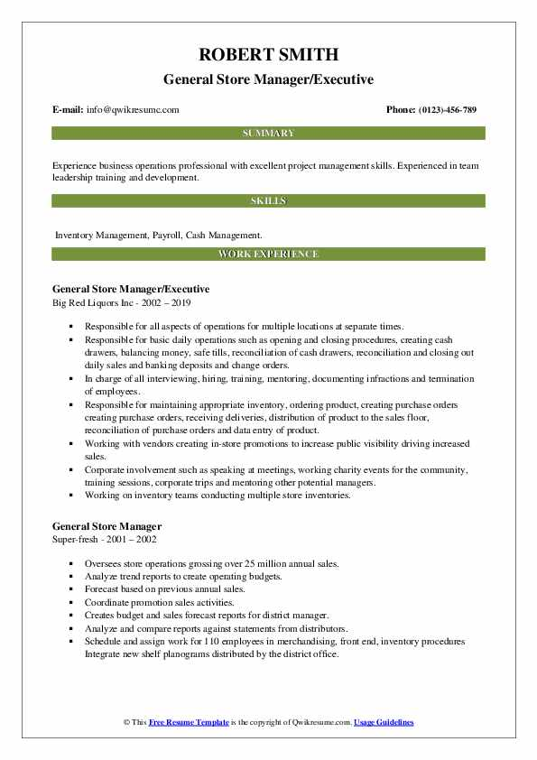 General Store Manager/Executive Resume Template