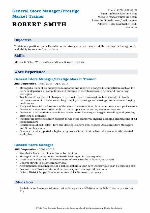 General Store Manager/Prestige Market Trainer Resume Template