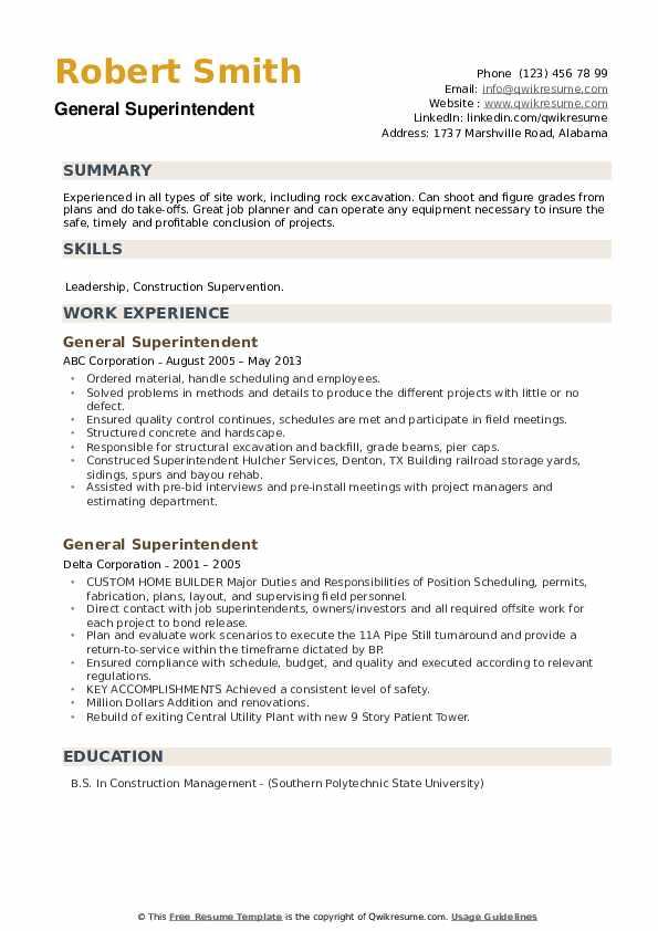 General Superintendent Resume example