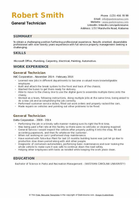 General Technician Resume example