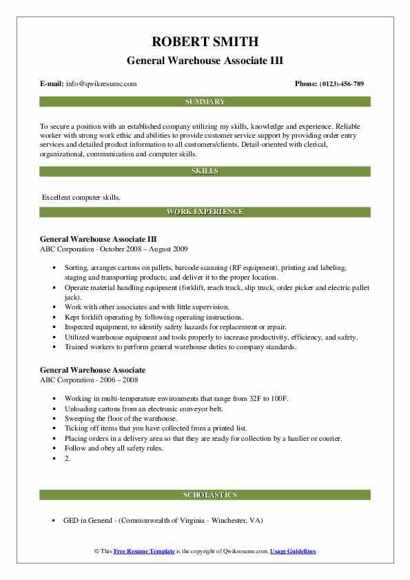 General Warehouse Associate III Resume Model